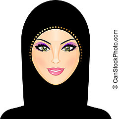 ilustração, de, árabe, mulher