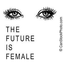 ilustração, de, a, mulher, olhos