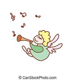 ilustração, de, a, pequeno, voando, anjo, com, flauta, e, nota, ligado, um, fundo branco