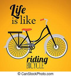 ilustração, de, bicicleta