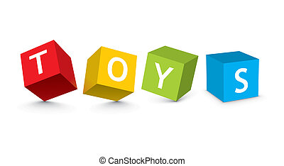 ilustração, de, blocos brinquedo