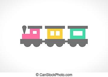 ilustração, de, bonito, multi coloriu, trem brinquedo