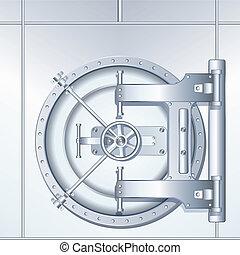 ilustração, de, caixa forte, porta