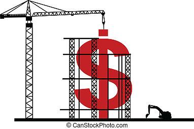 ilustração, de, construção, dólar