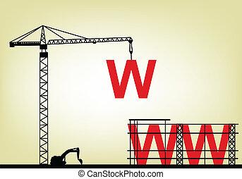ilustração, de, construção, teia, silício