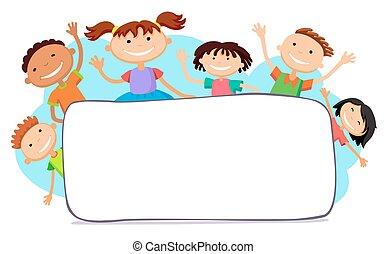 ilustração, de, crianças, piando, atrás de, painél publicitário