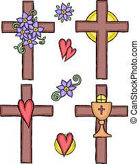 ilustração, de, cruzes