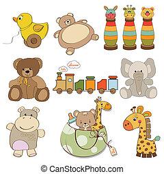 ilustração, de, diferente, brinquedos, item