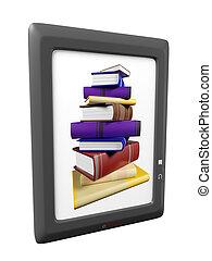 ilustração, de, ebook, leitor, dispositivo