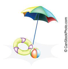 ilustração, de, esfera praia, com, anel inflável, e,...