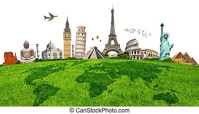 ilustração, de, famosos, monumento, ligado, grama verde