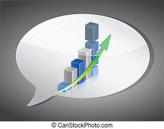 ilustração, de, gráfico de barras, ligado, borbulho fala