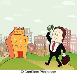 ilustração, de, homem negócio, ir, para, banco, predios