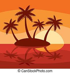 ilustração, de, ilha tropical