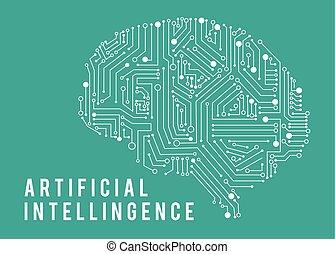 ilustração, de, inteligência, artificia, brain.