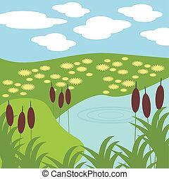 ilustração, de, lago, e, capim