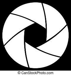 ilustração, de, lente câmera, abertura, anel