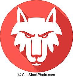 ilustração, de, lobo, rosto