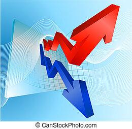 ilustração, de, lucro perdas, gráfico, com, setas