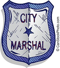 ilustração, de, marshal, emblema