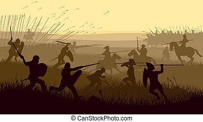 ilustração, de, medieval, battle.