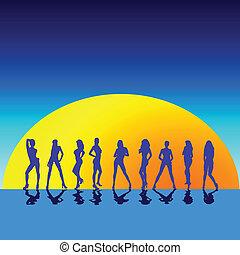 ilustração, de, menina, vetorial, silhoue