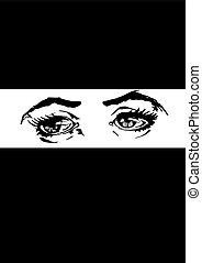 ilustração, de, mulher, olhos
