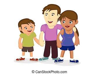 ilustração, de, multiracial, family.