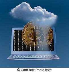 ilustração, de, nuvem, computando, e, bitcoin