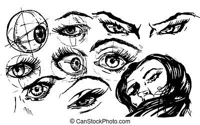 ilustração, de, olhos