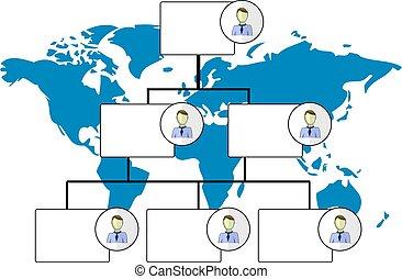 ilustração, de, organogram, com, mapa mundial