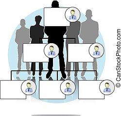 ilustração, de, organogram, com, pessoas negócio, grupo