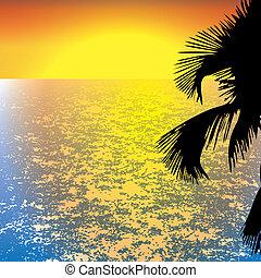 ilustração, de, pôr do sol, vista, em, praia, com, árvore palma