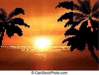 ilustração, de, pôr do sol, vista, em, praia, com, palma, árvore., paisagem tropical