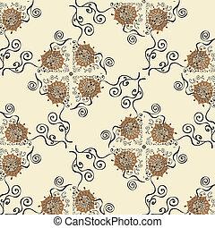 ilustração, de, padrão, com, flor