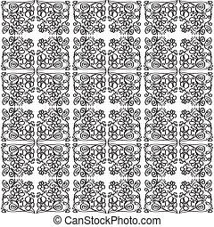 ilustração, de, padrão, com, flowe