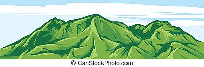 ilustração, de, paisagem montanha