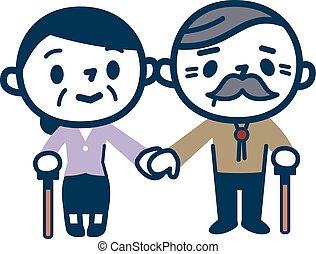 ilustração, de, par ancião, segurar passa