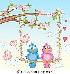 ilustração, de, par, apaixonadas