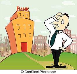 ilustração, de, pensando, homem negócio, ir, para, banco, predios
