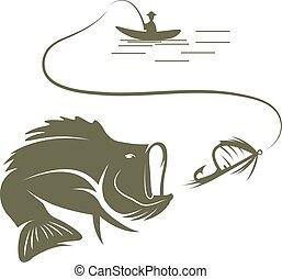 ilustração, de, pescador, em, um, bote, e, baixo largemouth