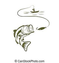 ilustração, de, pescador, em, um, bote, e, boca grande, baixo