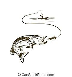 ilustração, de, pescador, em, um, bote, e, pike