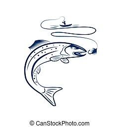 ilustração, de, pescador, em, um, bote, e, truta
