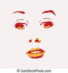 ilustração, de, retrato mulher