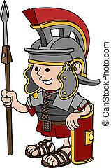 ilustração, de, romana, soldado