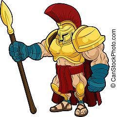 ilustração, de, spartan, gladiador