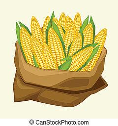 ilustração, de, stylized, saco, com, fresco, maduro, milho, cobs.
