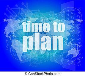 ilustração, de, tela toque, com, tempo, planejar, palavras