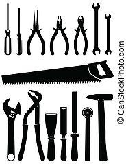 ilustração, de, tools.